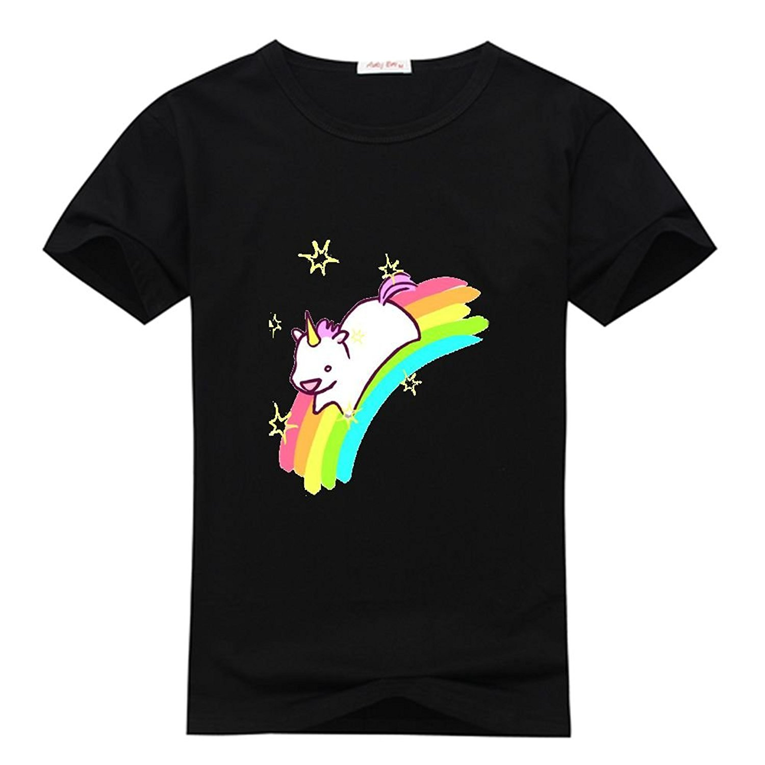 Mens Cotton T-Shirt with Kawaii narwhal