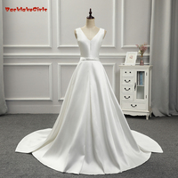 100 Real Photo High Quality BakeLakeGirls Simple Bridal Gown Custom Made Satin Sleeveless With Bow Lace