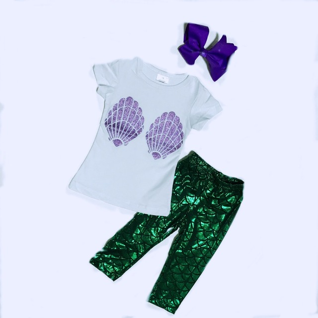 2016 bebé cáscara verde púrpura sirena de escamas de pescado con encanto pantalones niños ropa de Verano ropa de las muchachas con el arco y cinta para el pelo