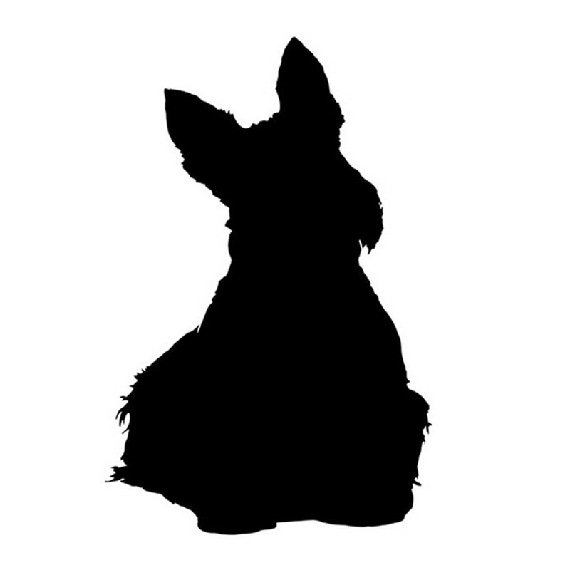 9*13CM SCOTTISH TERRIER Dog Pet Car Stickers Motorcycle Decals Car Styling Accessories Black/Silver C2-0176