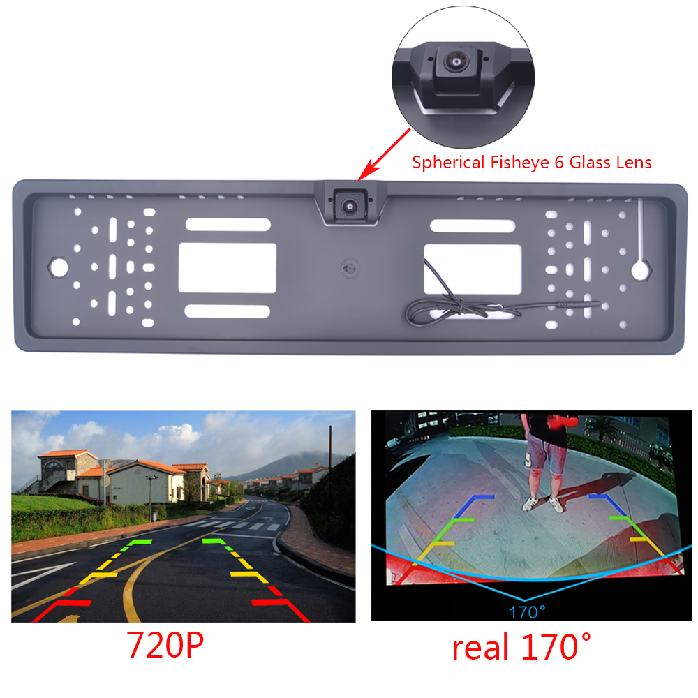 EU Car License Plate Frame Rear View Camera HD 720P Night Vision Waterproof Camera Car Parking Reversing Auxiliary Cameras|Vehicle Camera| |  - title=