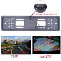 EU Car License Plate Frame Rear View Camera HD 720P Night Vision Waterproof Camera Car Parking Reversing Auxiliary Cameras