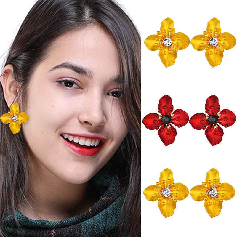 New Exaggerated Fashion Flowers Bohemian Crystal Stud Earrings Women's Party Women's Jewelry Accessories