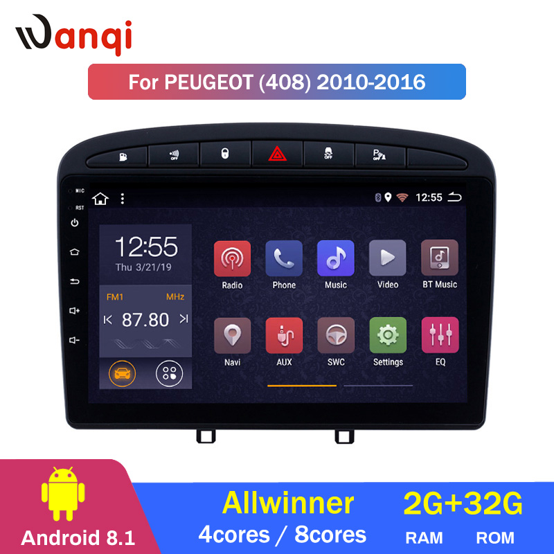 <font><b>2G</b></font> <font><b>RAM</b></font> 32G ROM 9 inch <font><b>Android</b></font> 8.1 <font><b>Car</b></font> Stereo for 2010-2016 PEUGEOT 308 408 GPS Navigation image
