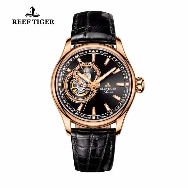 Reef Tiger/RT Luxury Designer Watches for Men Rose Gold Automatic Watches Genuine Leather Watch Strap RGA1639