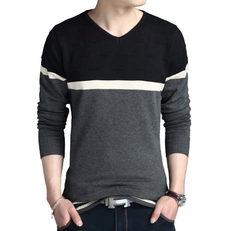 Sweater Pullover Men 2018 Male Brand Casual Slim Sweaters Fashion High Quality Hedging V -Neck S 4xl
