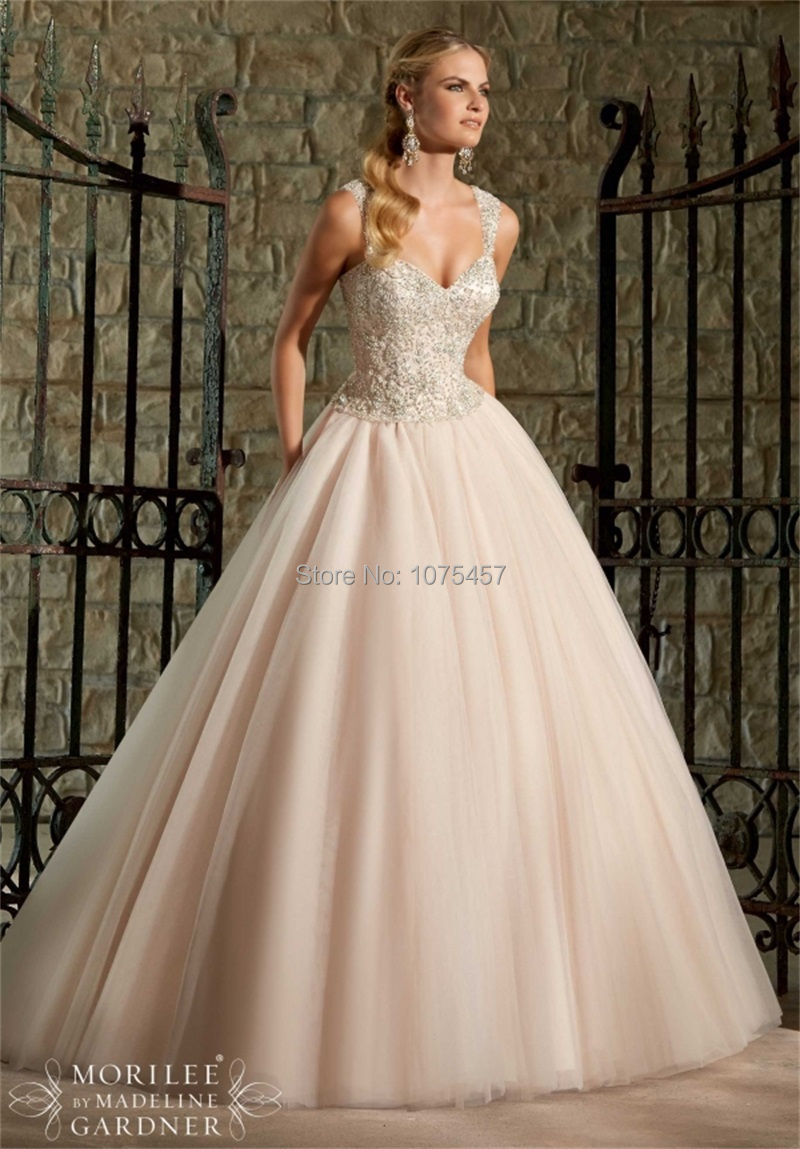 New Arrival Princess Ball Gown Wedding Dress 2015 V Neck Top Lace ...