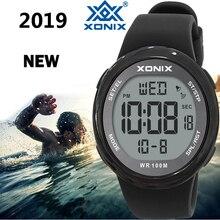 ساعة يد رياضية فاخرة للرجال موديل 2019 ساعة يد رقمية مزودة بإضاءة LED مناسبة للغوص والسباحة مزودة بمرآة من نوع هاردلكس