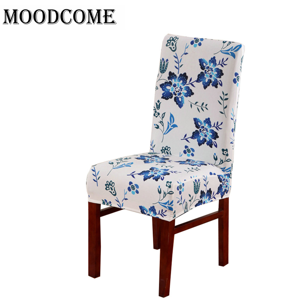buy blue flower chair cover spandex 2018 new design housse de chaise stretch