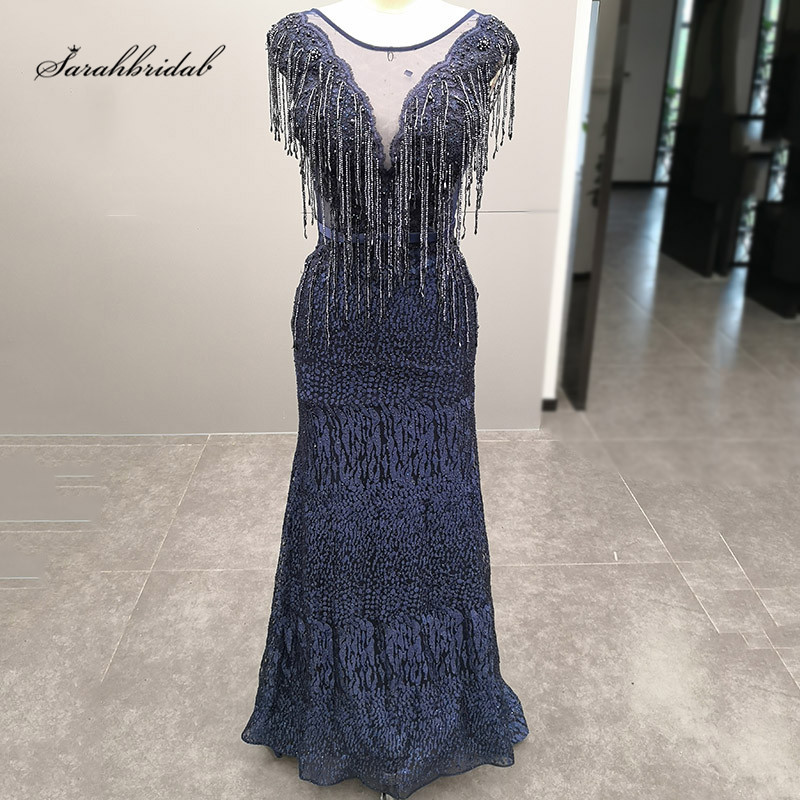 Long   Evening   Party   Dresses   2019 Navy Blue O-neck Beaded Lace Applique Sleeveless Close Back Floor Length Prom Formal Gown CC5482