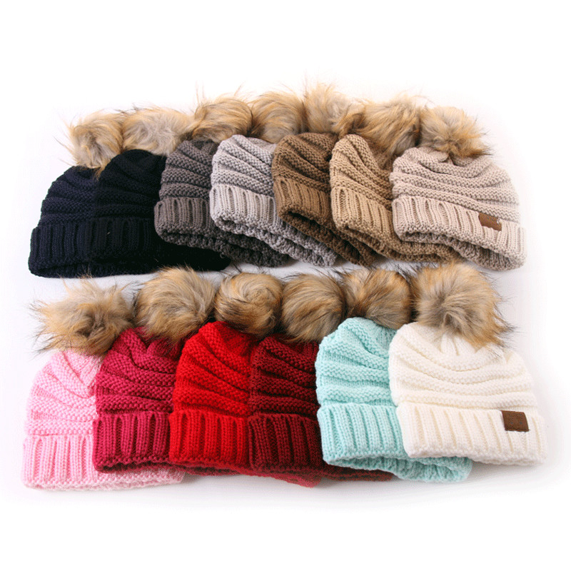Winter Brand Female Ball Cap Pom Poms Winter Hat for Kids Girl 'S Hat Knitted   Beanies   Cap Hat Thick Child   Skullies     Beanies   2019