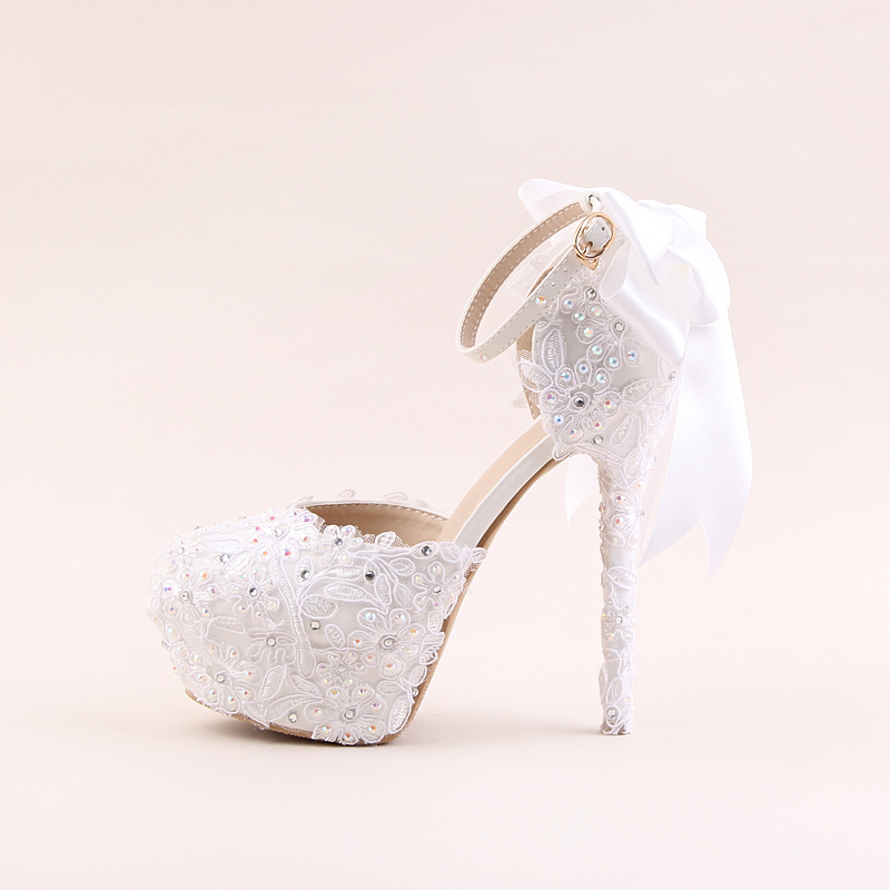 White lace flowers high heeled round waterproof table bridal shoes Wristbands wedding shoes bow women sandals