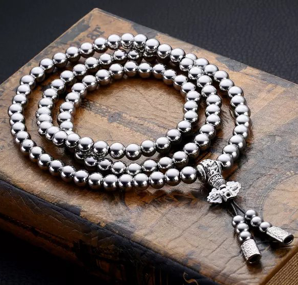 Stainless Steel 108 Buddhism Beads Bracelet for Men Hiphop Jewelry EDC Outdoor Survival Beaded Bracelet Men's Silver Necklace-in Charm Bracelets from Jewelry & Accessories    1