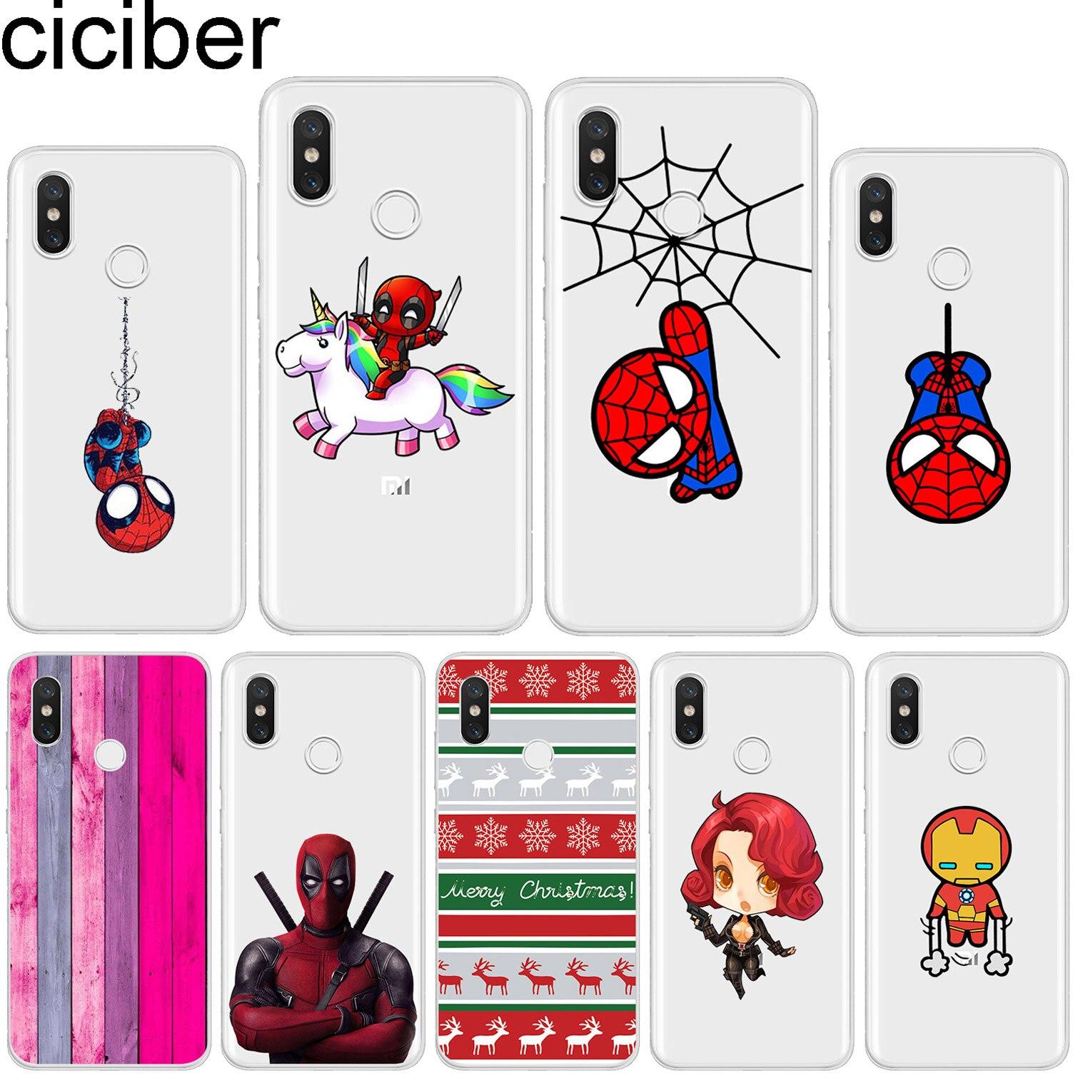 ciciber for Xiaomi MIX MAX 3 2 1 S Pro Marvel Spider-Man Soft TPU For Xiaomi A2 A1 8 6 5 X 5C 5S Plus Lite SE PocoPhone F1 Cases