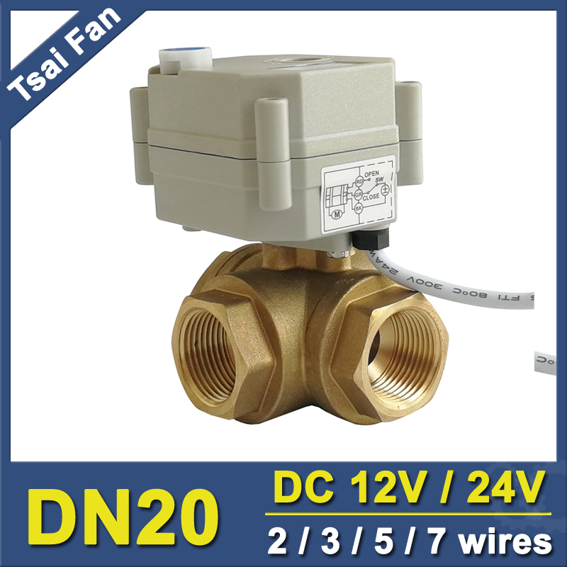 TF20 BH3 B DC12V or DC24V 2/3/5/7 Wires Brass 3/4'' (DN20) 3 Way T/L Type Horizontal Electric Valve With Manual Overiide-in Valve from Home Improvement    1