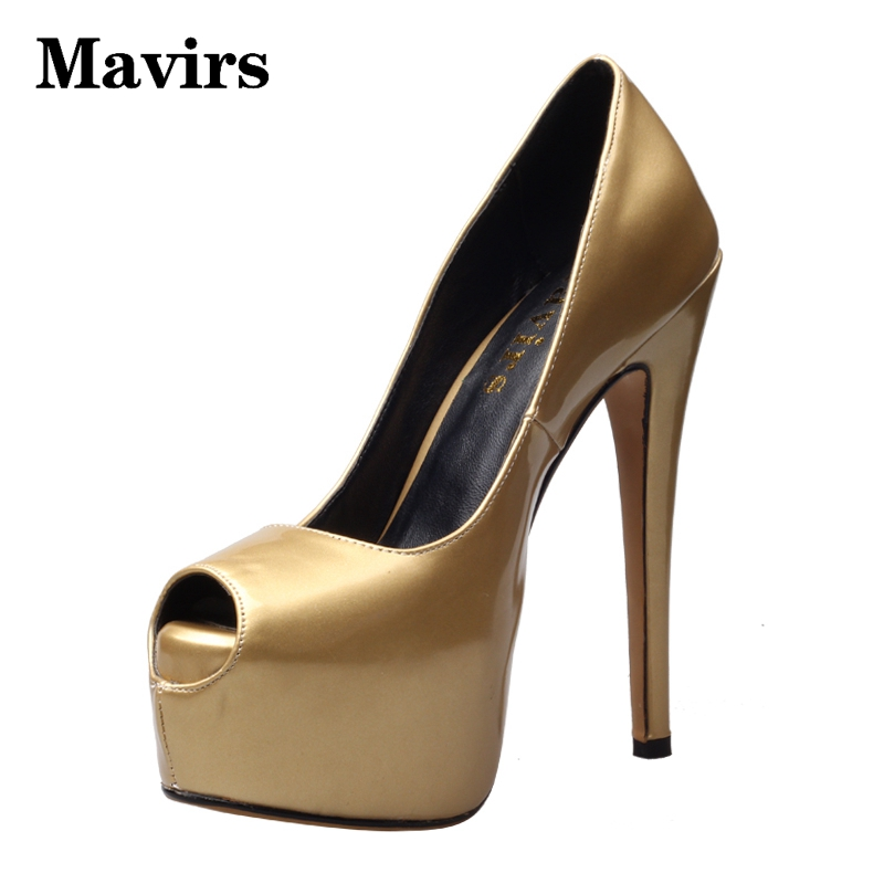 MAVIRS  2017 Fashion Platform High Heels Stilettos Women Pumps EU Size 34-46 Thin Heels Peep Toe Gold Women Causal Shoes 2017 mavirs flock peep toe platform high heels women pumps eu size 34 46 stiletto causal shoes thin heels fashion european sale