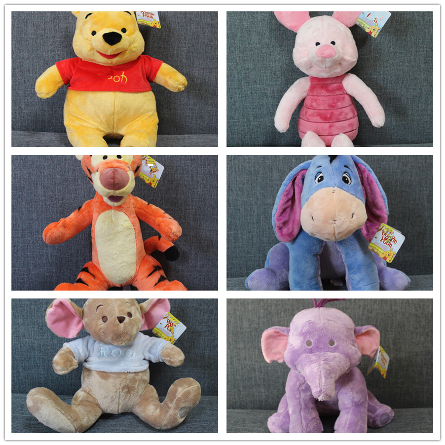 1pcs Eeyore Donkey Bear Tigger Tiger Piglet Pig Yellow Rabbit Roo Heffalump Elephant Plush Toy Cute Stuffed Animals Kids Toys