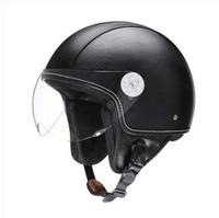 Leather Harley Helmets 3 4 Motorcycle Chopper Bike Helmet Open Face Vintage Motorcycle Helmet With Visor