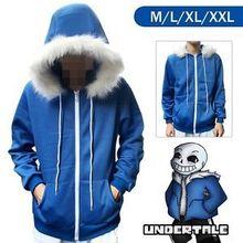 NEW!Undertale Sans Blue Coat Cosplay Jacket Costume Hoodie Top Men Women Jacket Coat Cosplay