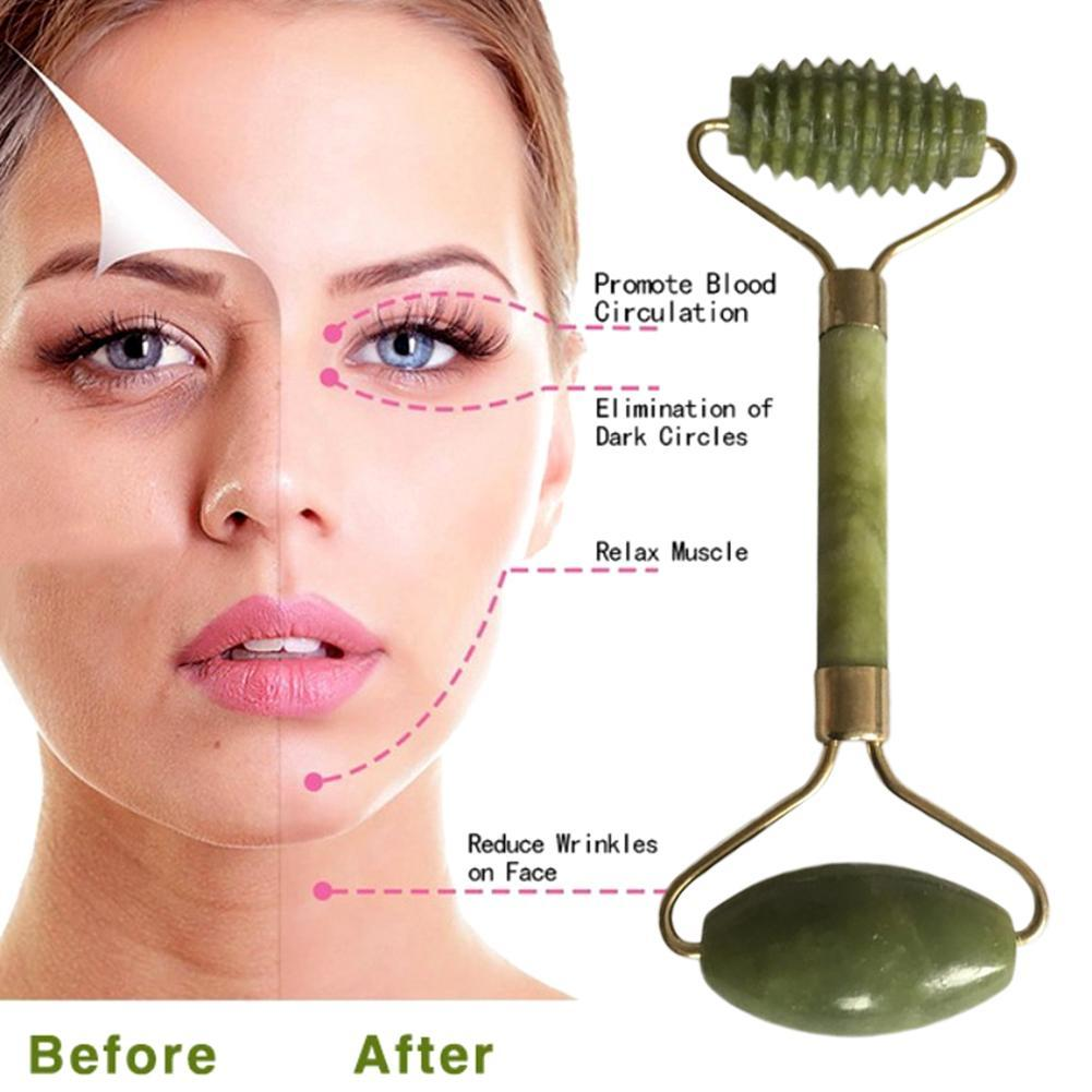 Double Head Facial Massager Roller Jade Face Lift Up Tool Body Neck Nature Face Sliming Tools For Beauty Facial Shaping Tools