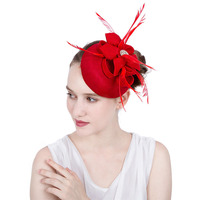Fascinators Hat Women Flower Mesh Ribbons Feathers Fedoras Hat Headband Clip Cocktail Tea Party Headwear for Girls M64