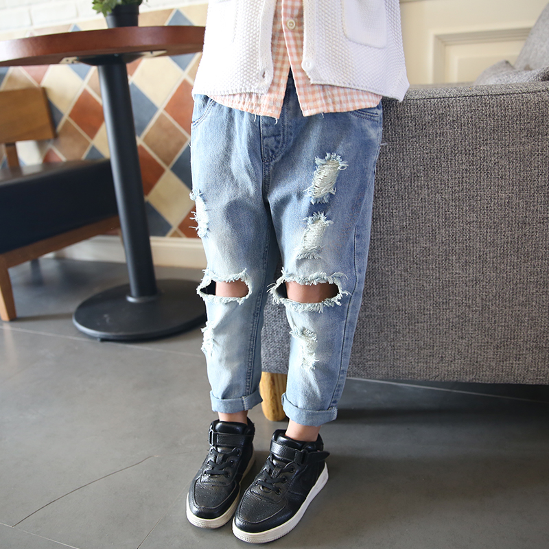 Online Shop Ripped jeans in the spring of 2016 new children torn ...