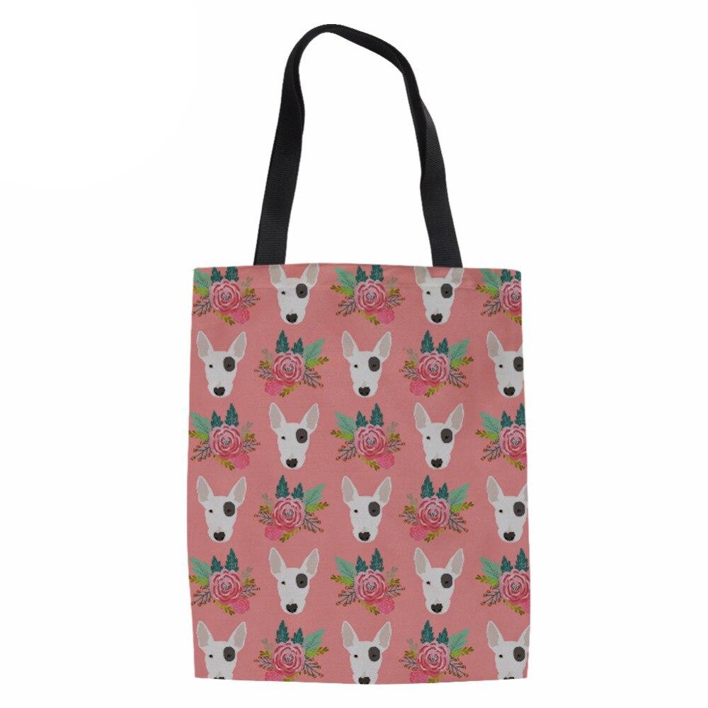 Ladies Channels Handbags Bag Handmade Cotton Pit Bull Terrier Printing School Travel Women Folding long Shoulder Shopping Bags