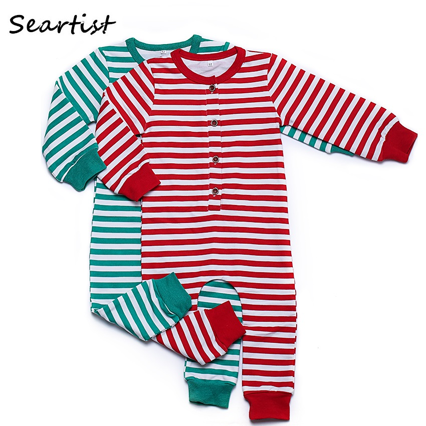 seartist baby girls boys christmas rompers boy girl striped jumpsuits kids xmas pajamas newborn fashion rompers 2018 new 40g