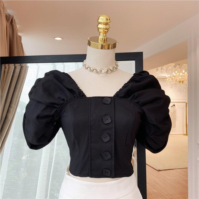 HIGH STREET New Stylish 2019 Designer Blouse Women's Puff Sleeve Square Collar Back V Crop Blouse Shirt