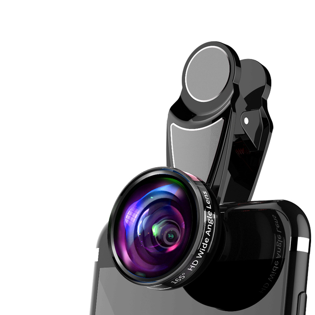 165 Degree HD Wide Angle Lens Mobile Phone Camera Lens Universal Clip 13mm Focal Length For