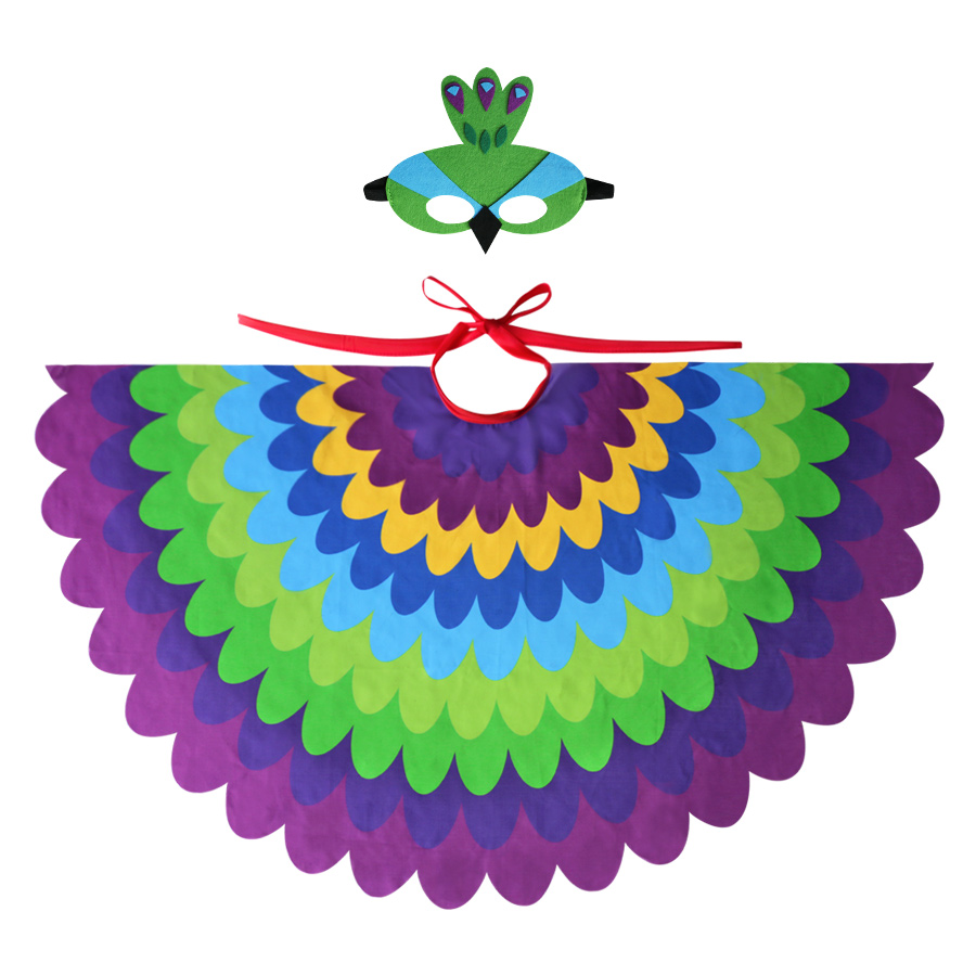 Dependable Special Child Peacock Wing And Peacock Mask Girls Beautiful Dance Costume Shawls Birthday Toys Party Gifts Favor Possessing Chinese Flavors Accessories