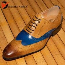 Gli uomini Si Vestono Scarpe Da Sposa del Cuoio Genuino Blu Marrone Misto di Colori Di Moda di Lusso Ufficio Formale Punta a punta Brogue Oxfords Scarpe
