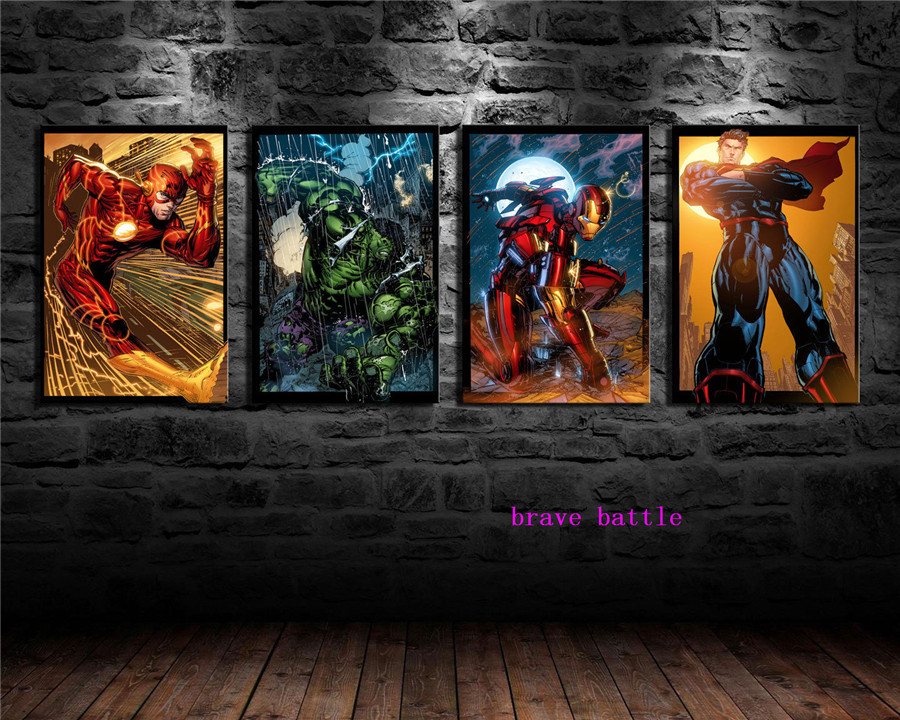Super Heroes 1 4 Pieces Canvas Painting Print Living Room Home Decor Modern Wall Art Oil Painting in Painting Calligraphy from Home Garden