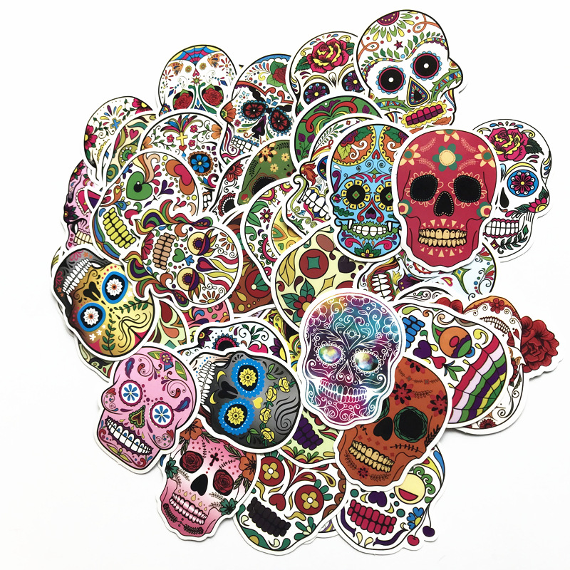 Image 3 - 60PCS/Package Mexican Calaver Sugar Skull Car Sticker Skateboard Laptop Luggage Decals car styling anime graffiti sticker suitca-in Car Stickers from Automobiles & Motorcycles