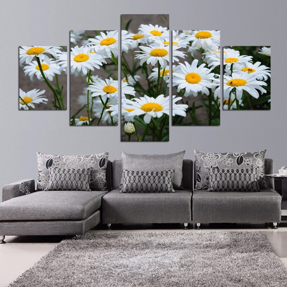 Modern White sunflower Flowers Poster Prints On Canvas Living Room ...