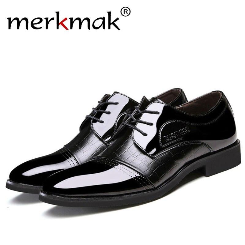 Merkmak Classical Men Dress Flat Shoes Men's Business Oxfords Casual Shoe Men Black / Blue Leather Shoes Cheap Men Shoes