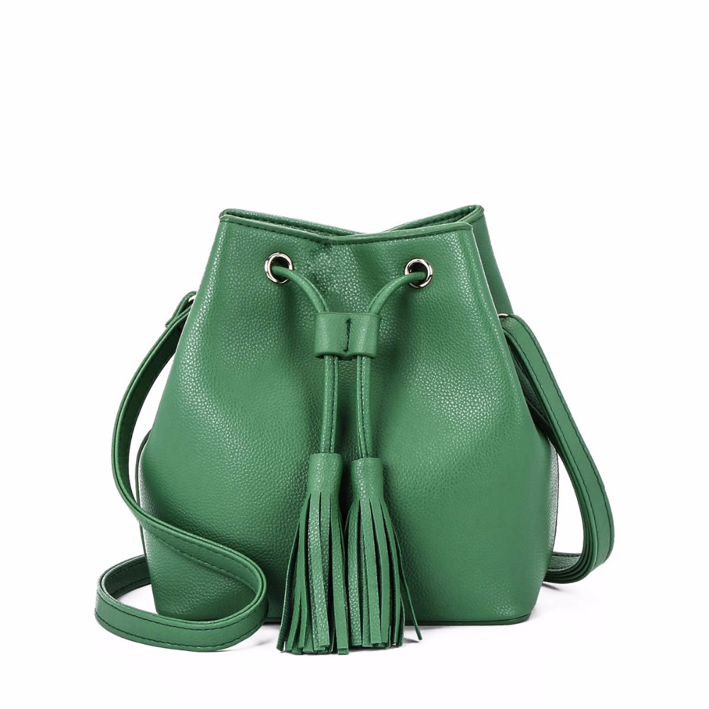 2018 New arrival of high quality pu Fashion simple ladies bag bucket bag Messenger shoulder bag in Shoulder Bags from Luggage Bags