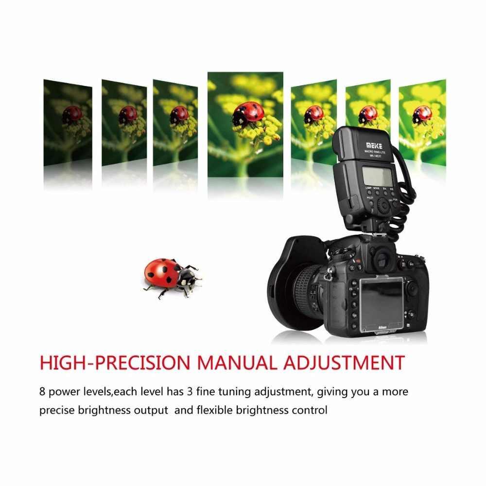 Meike MK-14EXT i-ttl Macro lumière annulaire Flash pour Nikon D5600 D5200 D5100 D5000 D3200 D3100 D90 D750 D600 avec LED lampe d'assistance AF