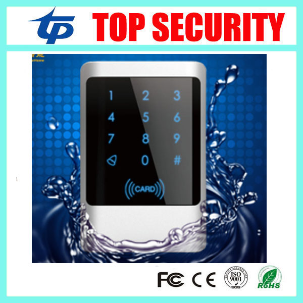 IP68 waterproof touch led keypad 13.56MHZ smart card reader for access control system weigand26 and 34 IC MF card access reader outdoor mf 13 56mhz weigand 26 door access control rfid card reader with two led lights
