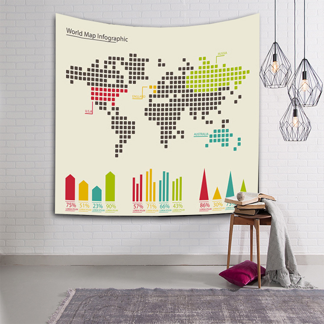 Map Wall Hanging Tapestry Decorative Yoga Mat Beach Towel Blanket Tapestry for Living Room Home Decoration H