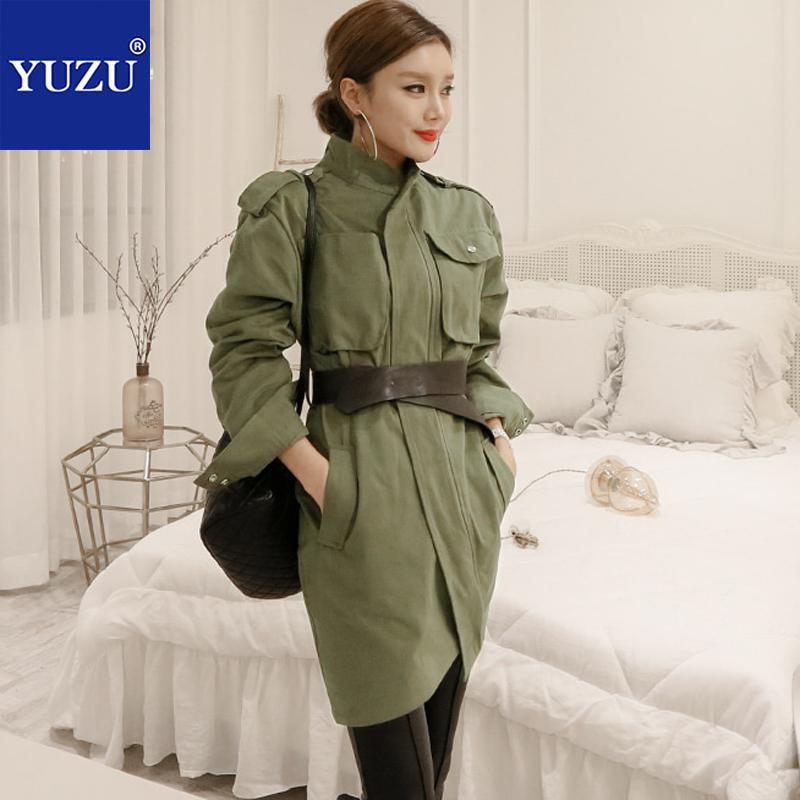 Armée Vert Safari Style Moulante Robe Automne Blazer Crayon Robes Col montant À Manches Longues Avec Ceinture Noire Poche Bureau Robe