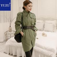 Army Green Safari Style Bodycon Dress Fall Blazer Pencil Dresses Stand Collar Long Sleeve With Black Belt Pocket Office Dress