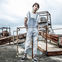 2019 New Harajuku Bib Men's tide Korean youth wash White Hole Light Nine pants jeans couple Suspenders Slim pants Size S-XXL light wash tapered fit nine minutes of jeans