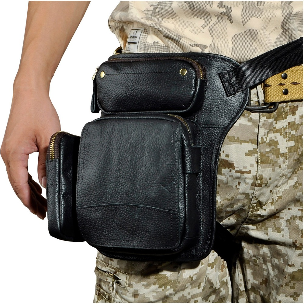 Hot Sale Real Leather Design men Multifunction Drop Leg Bag Pouch Fashion Cool Small Belt Pack Messenger Bag Waist Pack 3108b