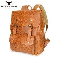 Лидирующий бренд мужской рюкзак элегантный дизайн Винтаж Колледж Школа Bookbag портфель кожаный рюкзак для ноутбука Mochilas Escolares