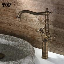 Античная бронза смеситель для кухни старинные кран раковины смеситель кран овощи раковина бассейна смеситель