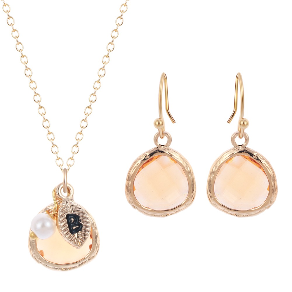 Elegant Champagne Gold Peach Stone Necklace Pendant Daily Jewelry ...
