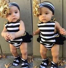 Newborn Baby Girls Clothes Floral Stripe Stripe Bodysuit Romper Jumpsuit Sunsuit Outfit Set Cute