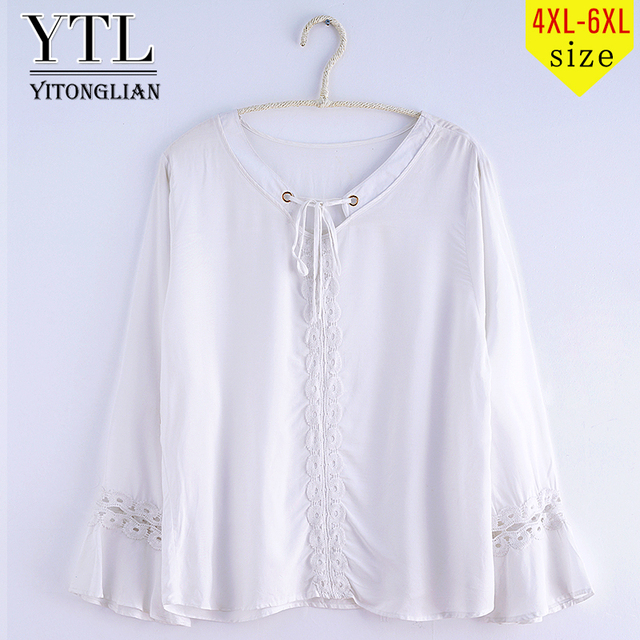 70a544d3 YTL Woman Plus Size Tunic Top Cotton Summer Crochet Front Tie Flare Long  Sleeve Loose White Casual T-shirts Tee 4XL 5XL 6XL XD03