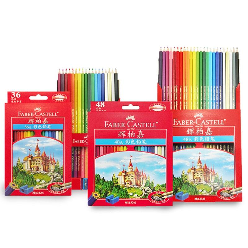 FABER CASTELL classic oily color pencil 36/48/72 color red box color pencil drawing pen Castle цена